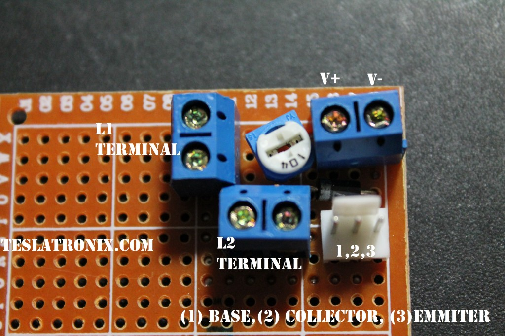 Basic Blocking Oscillator CIrcuit Board for Tesla Coils (top)