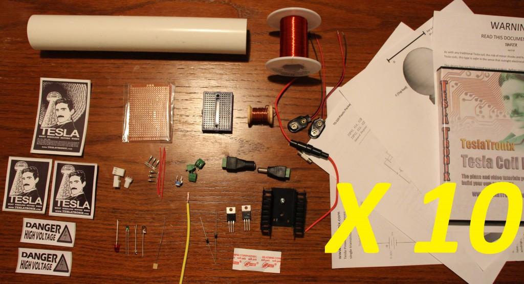 Basic Blocking Oscillator Tesla Coil Kit ten pack